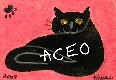 "C439        Original Acrylic Painting By Ljh    ""Vader""    Black Cat 7"