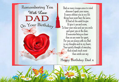 Dad Birthday Rememberance Memorial Graveside Keepsake Card & Free Holder 2