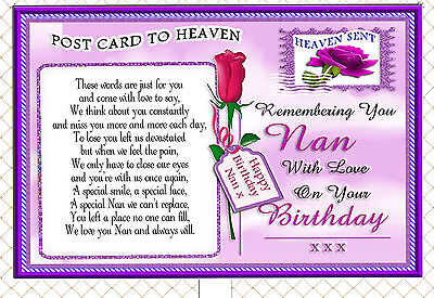 Nan Birthday Postcard To Heaven Memorial Graveside Card & Free Holder 2
