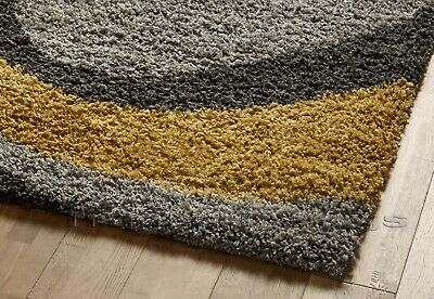 Small - X Large Thick Grey Silver Ochre Mustard Yellow Spiral Modern Shaggy Rug 2