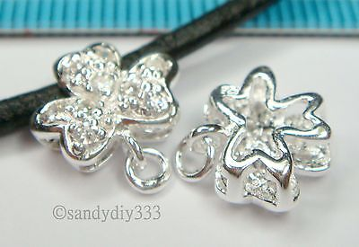 1x STERLING SILVER CZ CRYSTAL FLOWER NECKLACE SLIDE PENDANT BAIL CONNECTOR #1231 2