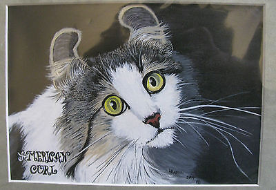 """C76     Original Acrylic Painting By Ljh     """"Russian Blue With Ceramic""""    Cat 9"""
