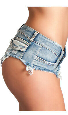 Wet Look Low Rise Mini Shorts Micro Cheeky Back Button Fly Belt Loops BWJ2B