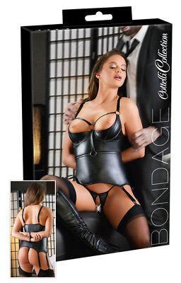 Corsetto nero wetlook reggicalze manette Basque Cottelli Bondage Fetish Sexy toy 6