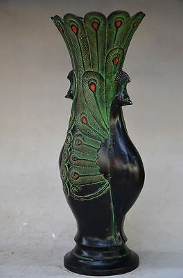Beautiful Chinese Bronze Handmade Carved Peacock Vase 3
