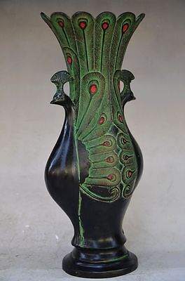 Beautiful Chinese Bronze Handmade Carved Peacock Vase 2