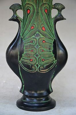 Beautiful Chinese Bronze Handmade Carved Peacock Vase 7