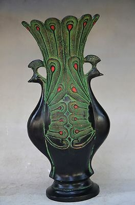 Beautiful Chinese Bronze Handmade Carved Peacock Vase 5