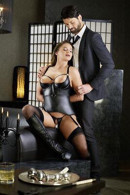 Corsetto nero wetlook reggicalze manette Basque Cottelli Bondage Fetish Sexy toy 2