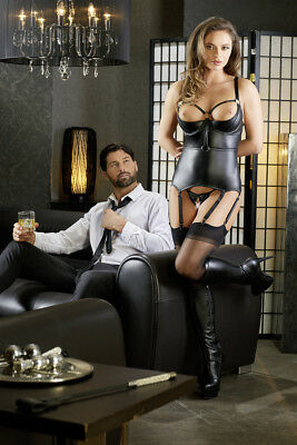 Corsetto nero wetlook reggicalze manette Basque Cottelli Bondage Fetish Sexy toy 4