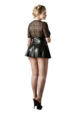 Plus Size Wetlook Kleid Schwarz/Rot Spitze Minikleid Schnürung Übergroß XL - 4XL 3