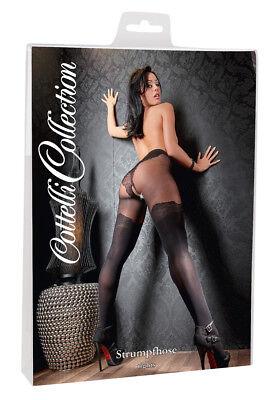 Collant aperto nero Loren Cottelli Sexy Lingerie Intimo donna calze sexx erotic