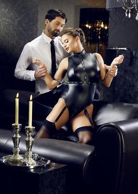 Corsetto nero wetlook reggicalze manette Basque Cottelli Bondage Fetish Sexy toy 3