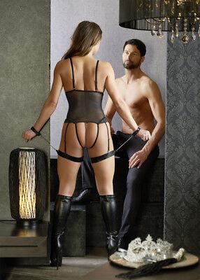 Body nero coppe aperte manette cinghie cosce Cottelli Bondage Sexy Lingerie toys 4