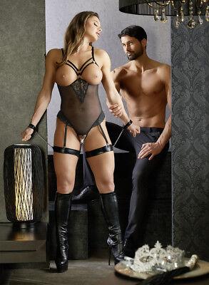 Body nero coppe aperte manette cinghie cosce Cottelli Bondage Sexy Lingerie toys 2