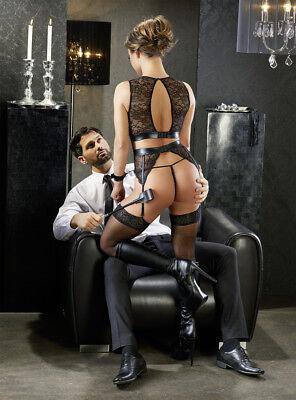 Sex Toys Completo intimo in pizzo reggicalze manette Suspender Cottelli Bondage 4