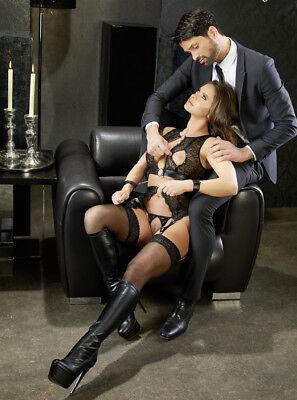 Sex Toys Completo intimo in pizzo reggicalze manette Suspender Cottelli Bondage 3