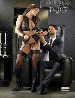 Sex Toys Completo intimo in pizzo reggicalze manette Suspender Cottelli Bondage 2