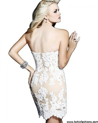 21187 Sherri Hill Ivory Crystal Lace Party Cocktail Prom Gown Dress Size USA 2 4