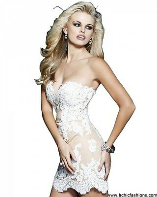 21187 Sherri Hill Ivory Crystal Lace Party Cocktail Prom Gown Dress Size USA 2 3