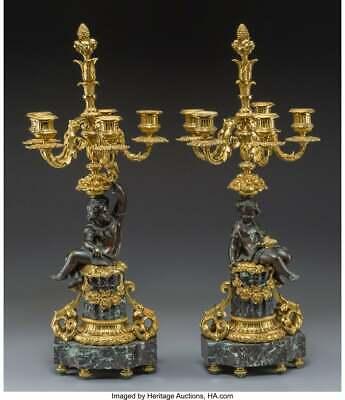 Candelabra, Gilt & Patinated Bronze, Napoleon III, 1800s, Gorgeous Pair Antique 2