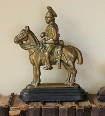 Vintage Soldier & Horse Door Stop Porter. Antique Brass Doorstop Figure Ornament 6