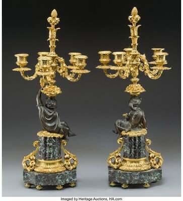 Candelabra, Gilt & Patinated Bronze, Napoleon III, 1800s, Gorgeous Pair Antique 3