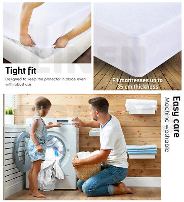 Fully Fitted Waterproof Cotton Mattress Protector All Sizes Pillow Cover 9