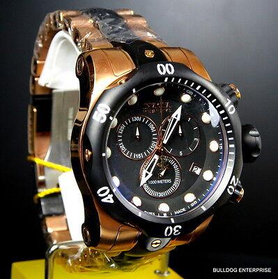 Mens Invicta Reserve Venom Rose Gold Tone Chronograph Swiss Made Black Watch New 11