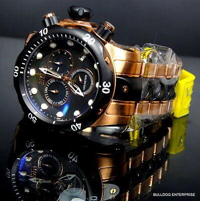 Mens Invicta Reserve Venom Rose Gold Tone Chronograph Swiss Made Black Watch New 7