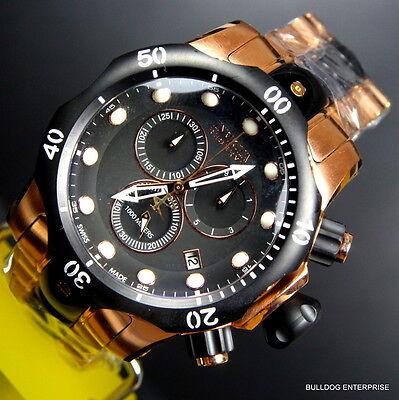 Mens Invicta Reserve Venom Rose Gold Tone Chronograph Swiss Made Black Watch New 9