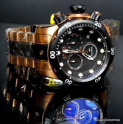 Mens Invicta Reserve Venom Rose Gold Tone Chronograph Swiss Made Black Watch New 5