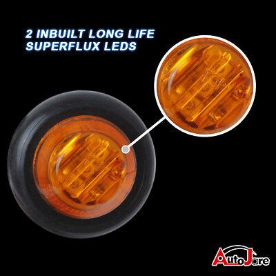 """20X Red + Amber LED Bullet Side Marker Light Flush Mount Truck Trailer 12V 3/4"""" 7"""