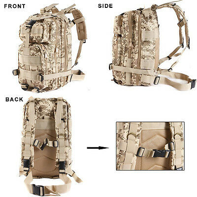 Hiking Camping Bag Army Military Tactical Trekking Rucksack Backpack Camo  30L 6