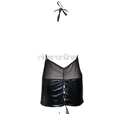 Damen Lingerie Dessous Lackleder Negligee Clubwear Babydoll Partykleid Schwarz 8