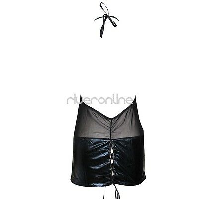 Damen Sexy Dessous Transparent Wetlook Minikleid Neckholder Clubwear Bodycon 7