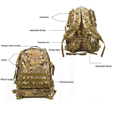 ... 40L Molle 3D Tactical Outdoor Military Rucksack Backpack Bag Camping  Hiking NEW 2 685f42bb22f71