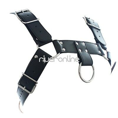 Herren Männer Body Brust Harness PU Leder Körper Geschirr mit O-rings Schwarz 8