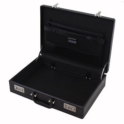 Professional Mens Leather Executive Black Briefcase with Combination Locks 4
