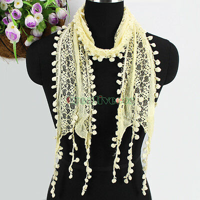 Women's Fashion Scarf Pom-Pom Tassel Lace Sheer Solid Color Long Scarf Shawl New 7
