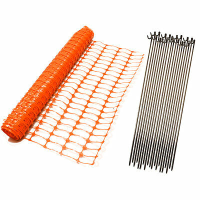 Green Orange Blue Plastic Safety Barrier Mesh Fence Netting Net and Metal Pins 3