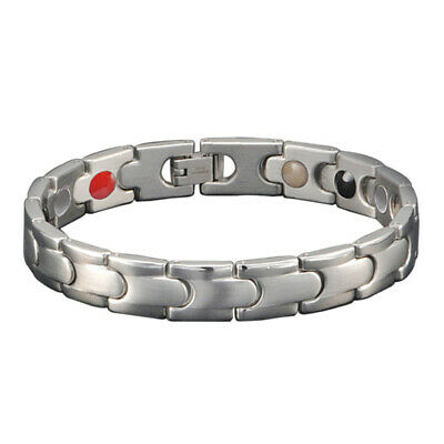 4Elements Titanium Steel Magnetic Far Therapy Negative Ions Bracelet Pain Relief 6