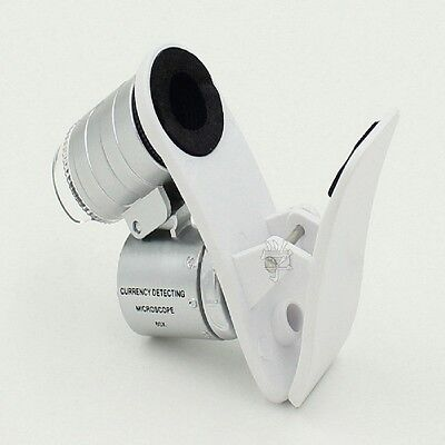 60X Optical Zoom 3 LED Clip Mobile Phone Microscope Magnifier Micro Camera Lens