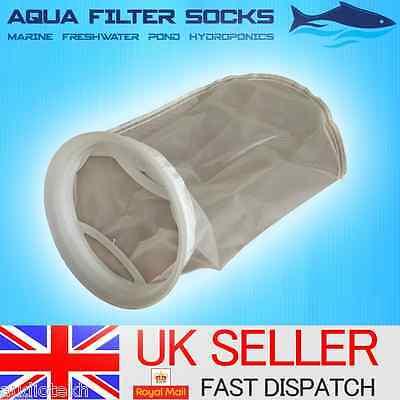 "50/100/200 Micron 7"" Ring, 9"" Short Nylon Mesh Filter Sock Aquarium Marine Sump"