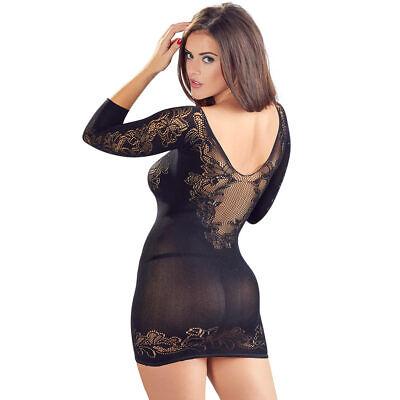 """Damen Kleid Netzkleid S M L 1/2 Arm Spitze String nahtlos Netz Reizwäsche """"Mitzi 8"""