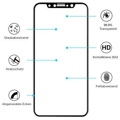 2 x iPhone 11 Pro Max 3D Full Cover Panzerglasfolie Schutzfolie Echtglas 9H 3