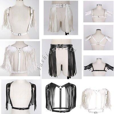 Sexy Women Lady Fringe Skirt Tassel Body Chest Harness Punk Goth Adjustable Belt