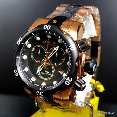 Mens Invicta Reserve Venom Rose Gold Tone Chronograph Swiss Made Black Watch New 12