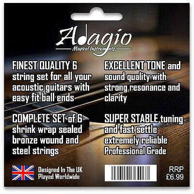3 PACKS Adagio Pro Acoustic Guitar Strings - Gauges 10, 11 or 12 Phosphor Bronze 3