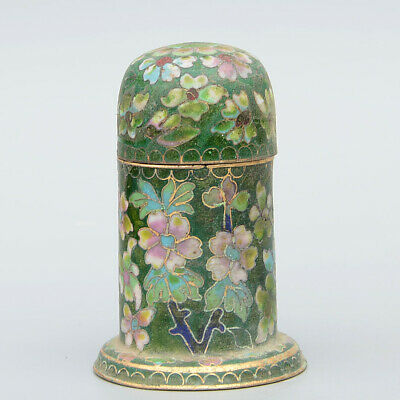 Collectable China Handwork Cloisonne Carve Beautiful Flowers Luck Toothpick Box 6